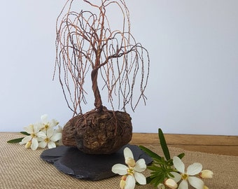 Copper wire Weeping Willow on driftwood and slate base