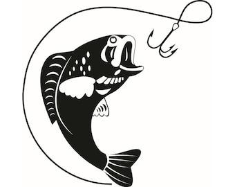 Bass Fishing #1 Logo Angling Fish Hook Fresh Water Hunting Largemouth Smallmouth Striped .SVG .EPS .PNG Clipart Vector Cricut Cut Cutting