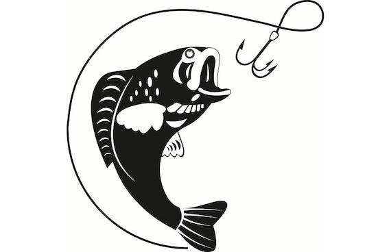 bass fishing 1 logo angling fish hook fresh water hunting rh etsy com Fish Hook Tribal Tattoo Designs Fish Hooks Cartoon