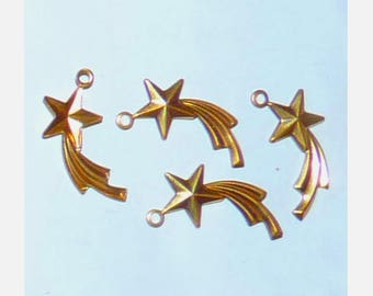 4 gold stars celestial pendant charms lane Milky Zodiac good luck wish for jewelry making