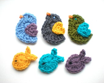 PATTERN:  Fishy Feathers Appliques, easy crochet PDF, easter, fish bird animal patch embellishment, InStAnT DoWnLoAd, Permission to Sell