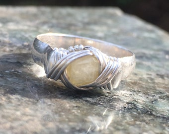 Dodecahedal Rhodizite 'The Master Crystal' set in Stering Silver Ring, sz. 9