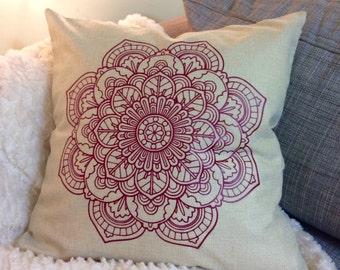 18x18 Mandala Flower Pillow Cover Natural