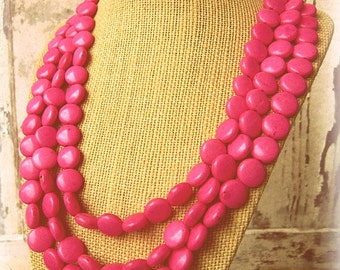 Pink Turquoise Statement Necklace.Triple Strand Pink Howlite Necklace. Bib Necklace. Pink Jewelry. Pink Necklace. Pink Bridesmaid Jewelry