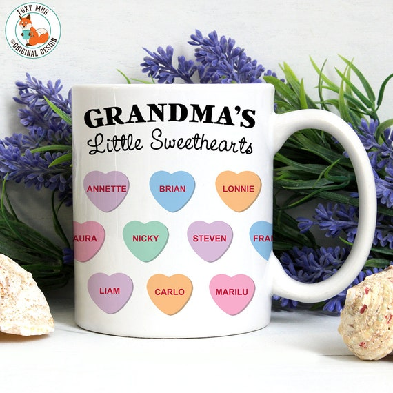 Coffee Mug Grandma's Little Sweethearts - Customized Conversation Hearts Coffee Cup - Personalized Mug with Kids Names