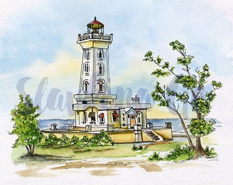 Lighthouse painting/POINT ABINO Canada lighthouse print from original watercolor painting/ Becon wall art print 11x14/ Lighthouse drawing
