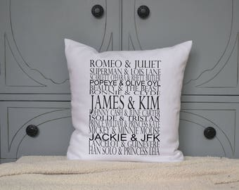 Personalized Famous couples gift, Engagement gift, romantic valentines pillow, romantic gift, gift for her, valentines gift idea 16 x 16