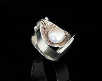 Sterling Silver hand made white pearl ring