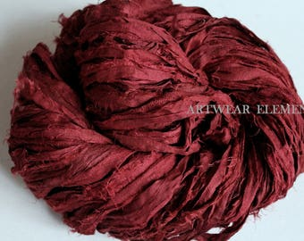 Pure Sari Silk Vintage Red Wagon, Per Yard Or Skein, Fair Trade, silk ribbon, fabric, silk Sari textile, Silk, Weaving, ArtWear Elements, #6