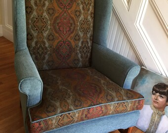 VINTAGE WING CHAIR All New Upholstery Gorgeous Rich Teal Chenille Earthy Jacquard Fabric Traditional Boho Cottage Retro Generous Proportion