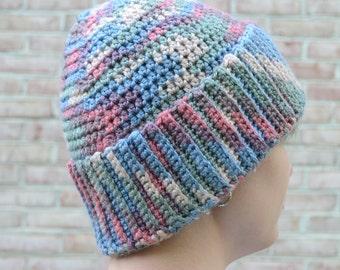 Large Warm Winter Crochet Beanie, Wide Fold Up Brim