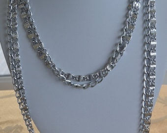 On sale Pretty Vintage Silver Chain Mulii-strand Necklace, Sarah Coventry