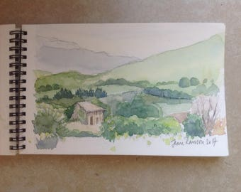 Watercolor watercolor closed landscape night Provence landscape