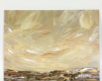 Original abstract landscape painting desert land rock sand hills sky brown neutral nature art