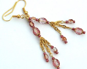 Gold Chain Earrings, Crystal Rose Fire Polished Czech Glass Beads, Delicate Drop Earrings on Blush Pink with Gold Accents, Boho Gypsy Style
