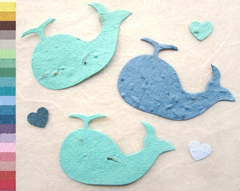 30 Flower Seed Whale Baby Shower Favors - Plantable Paper Blue Whales Gray Whales - with Optional Favor Card