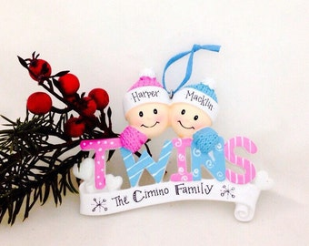 Twin ornament etsy baby twins first christmas ornament boy and girl twins personalized baby ornament personalized negle Choice Image