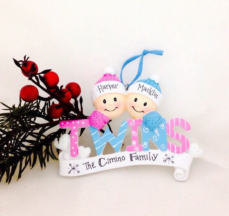 Baby twins first christmas ornament boy and girl twins zoom negle Image collections