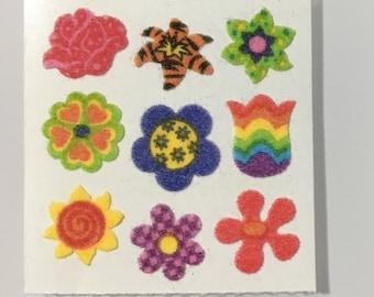 Vintage Sandylion Fuzzy Rainbow, Polkadot Flower Stickers