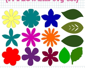 14 Flower and Leaf SVG DXF Set