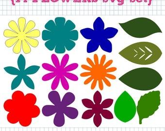 14 fleur et feuille SVG DXF ensemble