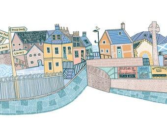 North Berwick Harbour Illustration Print