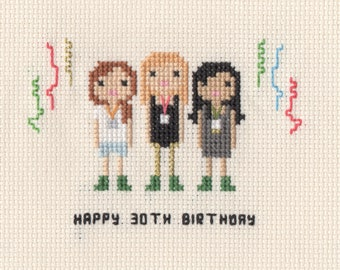 Custom Birthday Cross Stitch Family Portrait in Pixel Art Style (Framed)