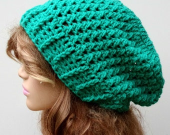 Jade green slouchy hat, Baggy Hipster  Hat Dread Tam Slouchy Hippie Beanie Handmade Crochet