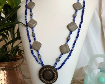 Vintage button and marble necklace set