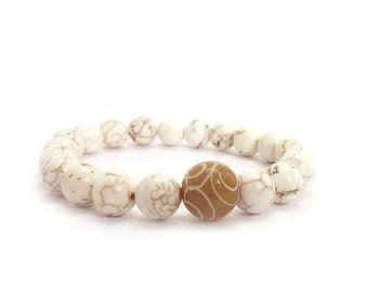 White Stone Bracelet - Carved Jade - Howlite Stones - Stacking Bracelet - Yoga Jewelry - Neutral Colors