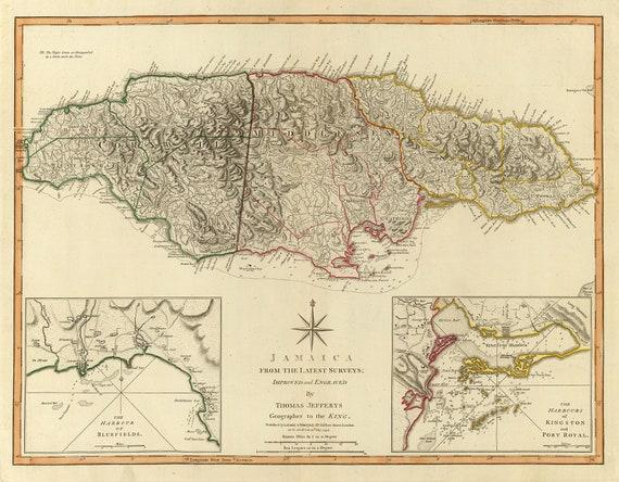 Vintage Map Jamaica - Vintage map of jamaica