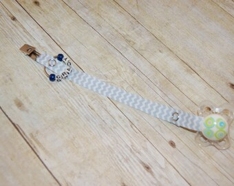 Pacifier Clip, Light Blue & White Chevron, Personalization Available, Ready to Ship, Free USA Shipping