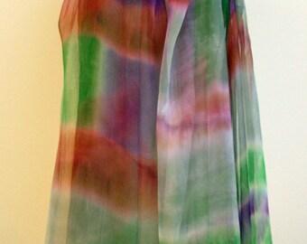 Hand painted silk chiffon scarf.Silk scarves.Silk brown-green-pourple.Handpainted silk shawl.Wedding gift.Ooak chiffon-71x37Inches(180x94cm)