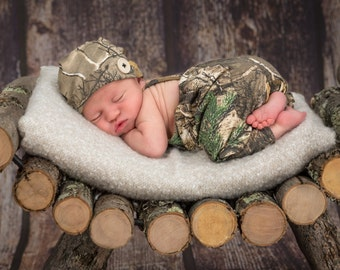 Hunting camo outfit overall,  hat for newborn baby boy, girl, preemie size available