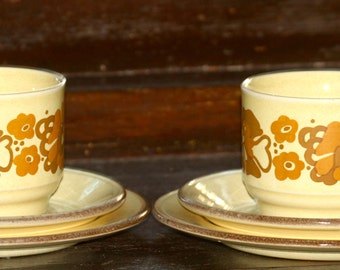 Gorgeous Vintage Staffordshire pottery 1960's Teacup , Saucer and Bread plate(set of 2)