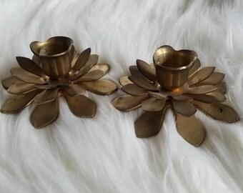 Vintage Brass Flower Candle Holders