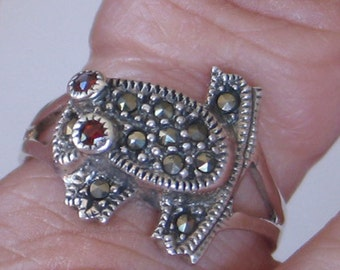 SALE Size 7 Froggy Marcasite Sterling Silver  Ring