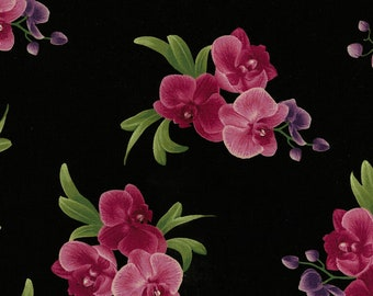 Spaced Orchid Bouquets, Timeless Treasures Fabric, C5649 Black, Orchid Fabric, Tropical, Cotton Floral, Quilting, Quilt, Fabric By the Yard