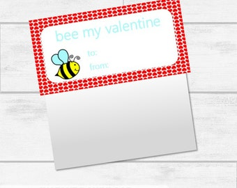Valentine's Day Bumble Bee Bag Topper Printables INSTANT DOWNLOAD