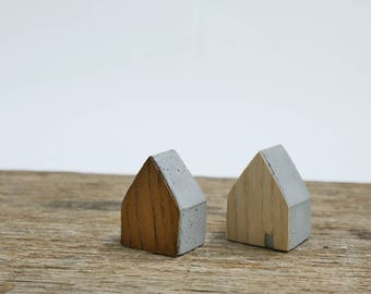 Set of 2 cute little cement houses