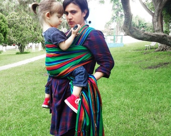 Baby Wrap Carrier Mexican Senka Green w rainbow stripes Wrap available in 5,5 yards and 3,5 yards