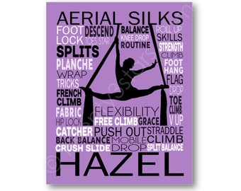 Aerial Silks Poster Typography, Aerialist Gift, Gift for Aerialist, Aerial Hoop Silks Gift, Aerialist Art Canvas, Gymnastics Coach Art