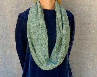 knit wrap scarf cowl snood in sage green alpaca and lambswool