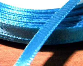 22 M reel - SA12 bright turquoise 6 mm satin ribbon