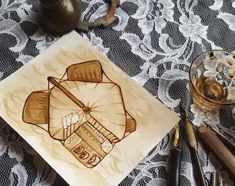Airship No. 4 - Original Sepia Ink Art