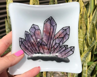 Fused Glass Trinket Dish With Handpainted Amethyst