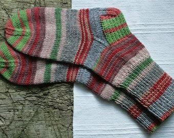 Hand knit socks for women, colorful knit socks, wool socks women