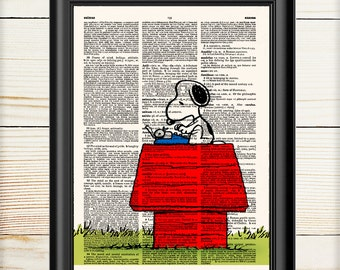 Snoopy Poster, Peanuts, Children Decor,  Charlie Brown, Book Print, Snoopy Art, Dictionary Print, 134