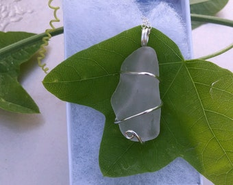 One of a Kind Wire Wrapped Sea Glass on Sterling Silver Chain