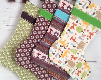 READY TO SHIP - Design Your Own Set of Christmas Stockings in Brown, Taupe, Green and Cream
